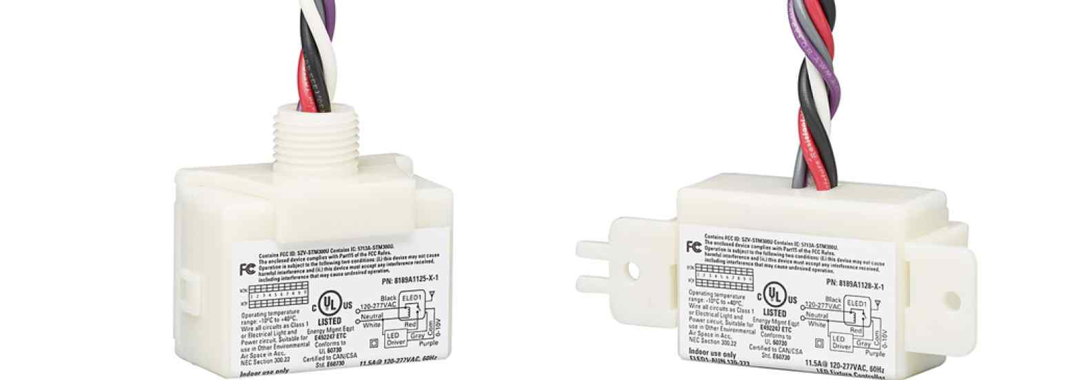 """Echoflex Solutions' LED Fixture Controllers come in ½"""" nipple and surface (strap) mount form factors and are UL924 Listed"""